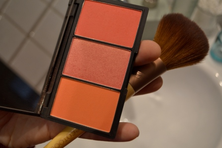 This is my favorite new blush from Sleek Makeup. Today I've only used the middle one, and it has a sparkly look to it.